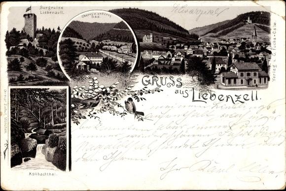 Litho Bad Liebenzell im Schwarzwald, Burgruine, Kollbachtal, Panorama vom Ort