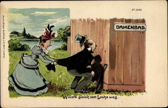 Litho Willste gleich vom Loche weg, Spanner im Damenbad, Bruno Bürger 1886