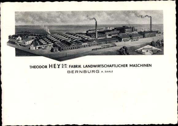 Ak Bernburg an der Saale, Theodor Hey GmbH, Fabrik landwirtschaftlicher Maschinen