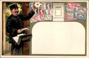 Präge Briefmarken Litho Boite à Lettres, Briefkasten, Briefträger
