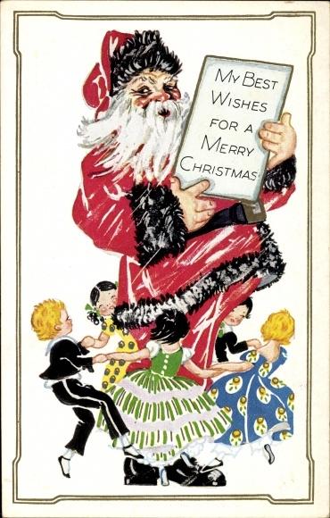 Präge Ak Frohe Weihnachten, Weihnachtsmann, Kinder beim Ringelreihen, Santa Claus
