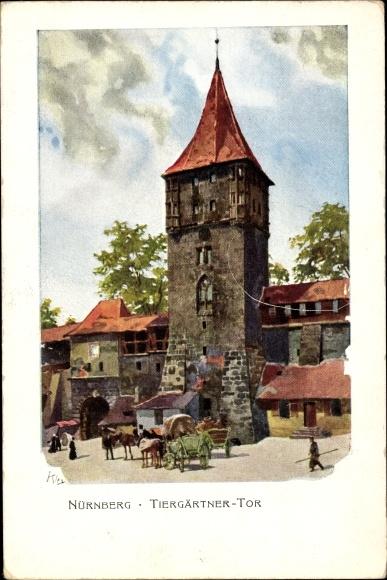 Künstler Litho Kley, Heinrich, Nürnberg, Tiergärtner Tor, Fuhrwerke, Jubiläumslandesausstellung 1906