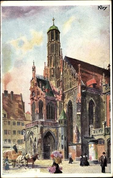 Künstler Litho Kley, Heinrich, Nürnberg, Frauenkirche, Bayerische Jubiläums Landesausstellung 1906