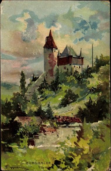 Künstler Ak Guggenberger, Thomas, Kempten im Allgäu Schwaben, Burg Halde