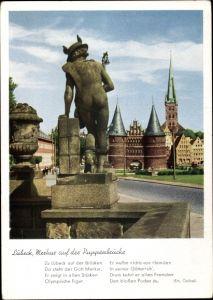 Ak Lübeck in Schleswig Holstein, Ansicht vom Merkur auf der Puppenbrücke, Gedicht, Em. Geibel