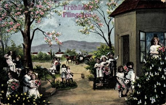 Ak Glückwunsch Pfingsten, Kinder, Baumblüte, Blumen