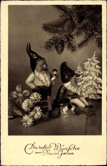 Ak Glückwunsch Neujahr, Zwerge, Fliegenpilz, Tannenzweig