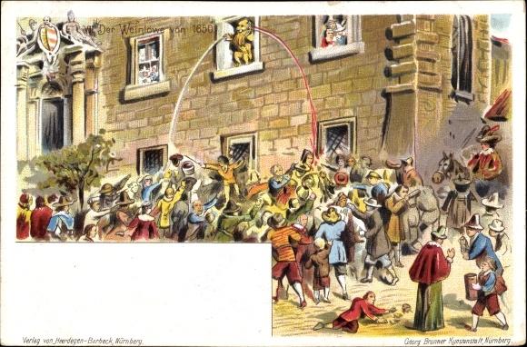 Litho Nürnberg in Mittelfranken Bayern, VII. Der Weinlöwe von 1650
