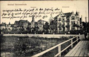Ak Świnoujście Swinemünde Pommern, Seeschloss und Dünenschloss, Villen, Strandpromenade