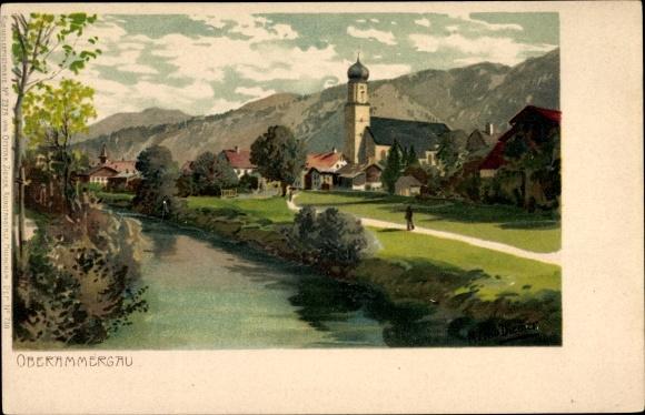Künstler Litho Diemer, Zeno, Oberammergau in Oberbayern, Kirche