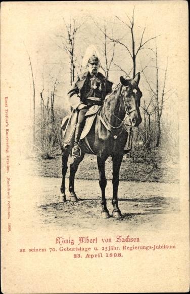 Ak König Albert von Sachsen, 70. Geburtstag 1898, Portrait auf einem Pferd