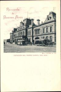 Ak Buenos Aires Argentinien, Estacion del Ferro Carril del Sud, Bahnhof