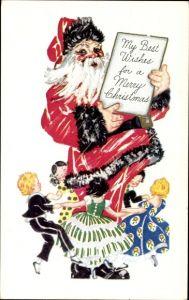 Präge Ak Frohe Weihnachten, Weihnachtsmann, Kinder