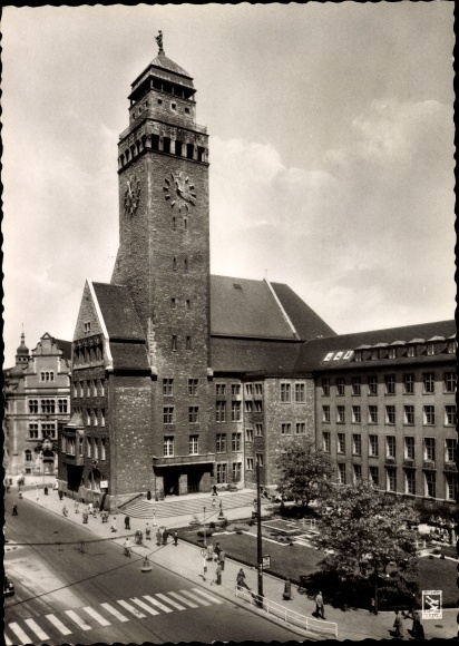Ak Berlin Neukölln Rixdorf, Straßenpartie am Rathaus