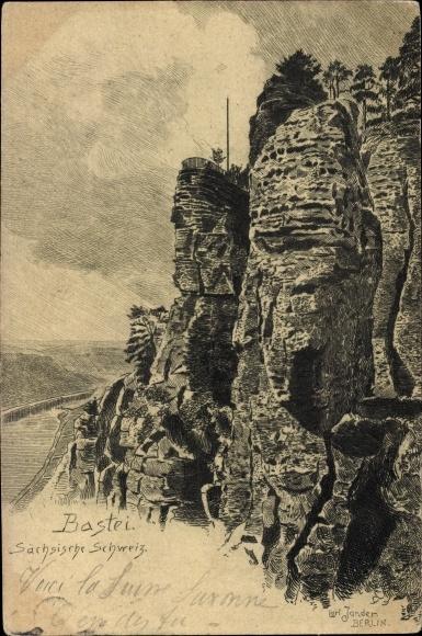 Künstler Ak Jander, Carl, Lohmen im Elbsandsteingebirge, Ansicht vom Basteifelsen