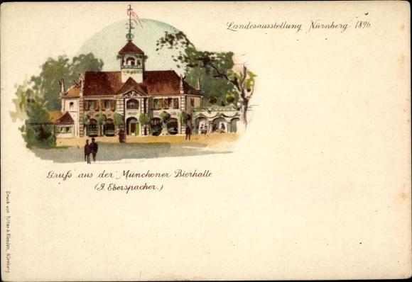 Litho Nürnberg in Mittelfranken Bayern, Gruss aus der Münchener Bierhalle, 1896