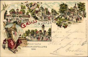 Litho Nürnberg in Mittelfranken Bayern, Bayer. Landesausstellung 1896, Bierhallen, Weinhaus