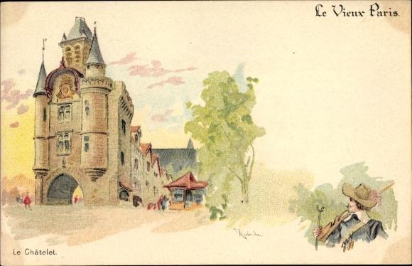 Künstler Litho Paris, Le Châtelet, Kastell, Musketier