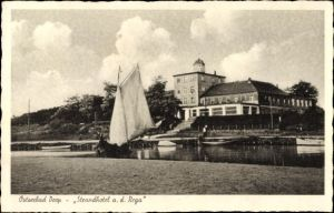 Ak Mrzeżyno Deep Pommern, Strandhotel an der Rega, Segelboot
