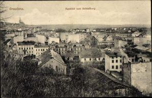 Ak Grudziądz Graudenz Westpreußen, Blick vom Schlossberg über die Dächer der Stadt