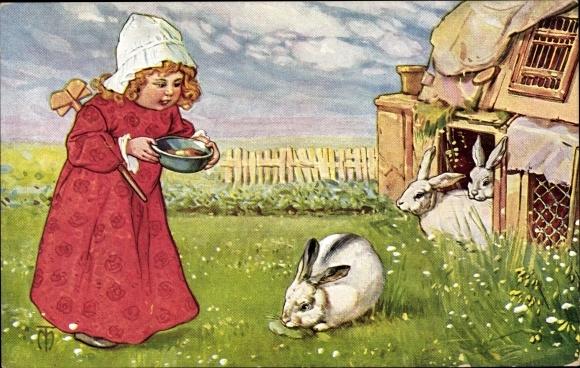 Künstler Ak Mädchen füttert Hasen, Kaninchen, Hasenkäfige