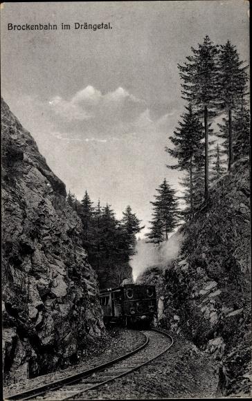 Ak Deutsche Eisenbahn, Dampflokomotive, Brockenbahn im Drängetal