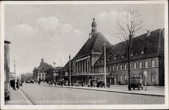 Ak Görlitz in der Lausitz, Seitenblick auf den Hauptbahnhof, im Hintergrund das Bahnpostamt
