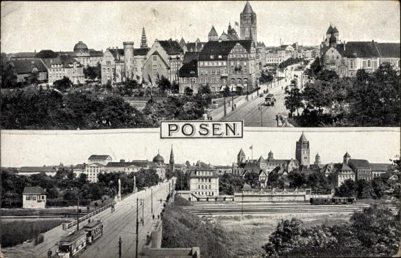 Ak Poznań Posen, An der Schlossbrücke, Theaterbrücke mit Straßenbahn