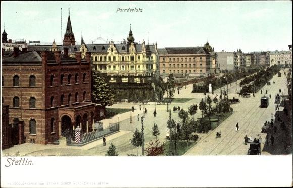 Ak Szczecin Stettin Pommern, Paradeplatz, Straßenpartie