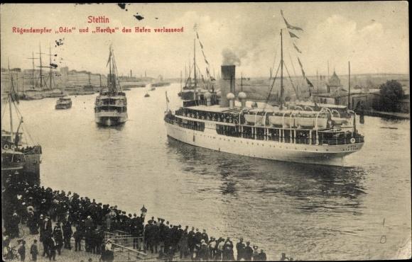 Ak Szczecin Stettin Pommern, Rügendampfer Odin und Hertha, Reederei Braeunlich Stettin