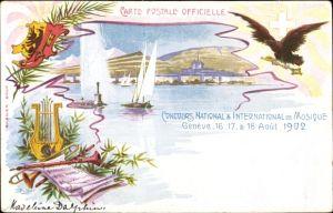 Litho Genève Genf Stadt, Concours National et International de Musique 1902