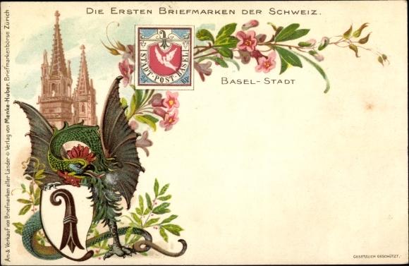 Briefmarken Litho Bâle Basel Stadt Schweiz, Die ersten Briefmarken der Schweiz, Wappen