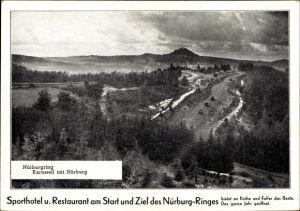 Ak Nürburg im Kreis Ahrweiler Rheinland Pfalz, Nürburgring, Karussell mit Nürburg