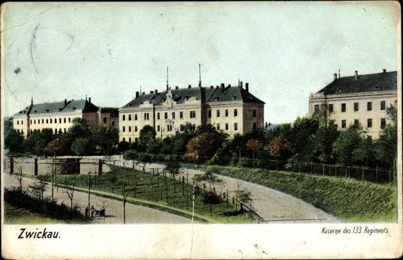 Ak Zwickau in Sachsen, Kaserne des 133. Regiments