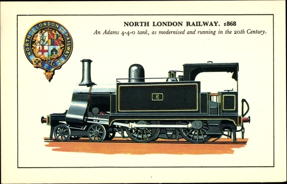 Ak North London Railway, 1868, An Adams 4-4-0 tank, running in the 20th century, Dampflok, Wappen