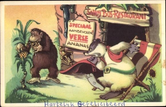 Künstler Ak Comic, Doremias Das, Restaurant, Dachs, Affe, Ananas