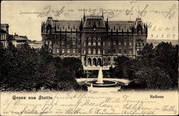 Ak Szczecin Stettin Pommern, Rathaus mit Vorplatz, Brunnen