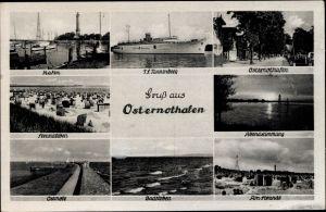 Ak Warszów Osternothafen Świnoujście Swinemünde Pommern, Turbinenschiff Tannenberg, Ostmole