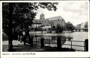 Ak Wrocław Breslau Schlesien, Sandinsel mit Sandkirche, Uferweg mit Blick übers Wasser