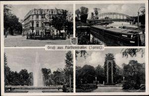 Ak Fürstenwalde an der Spree, Stadtansichten, Denkmal, Lastkähne, Brücke, Wappen