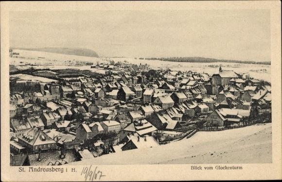 Ak St. Andreasberg Braunlage im Harz, Teilansicht, Blick vom Glockenturm