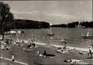 Ak Templin im Kreis Uckermark, Badegäste im Strandbad, Sprungturm