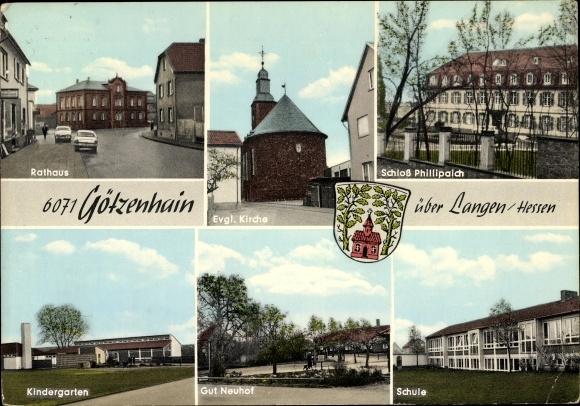 Ak Götzenhain Dreieich in Hessen, Rathaus, Ev. Kirche, Schloss ...