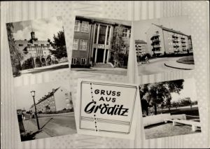 Ak Gröditz in Sachsen, Eingangsportal der Schule, Straßenpartien und Wohnsiedlung, Sportplatz
