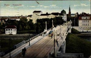 Ak Poznań Posen, Straßenbahn auf der Theaterbrücke, Bahnanlagen, Bahnhof