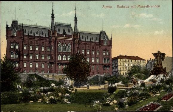 Ak Szczecin Stettin Pommern, Rathaus mit Manzelbrunnen, Parkanlagen