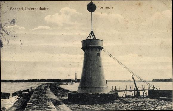 Ak Warszów Osternothafen Świnoujście Swinemünde Pommern, Signalturm auf der Ostmole
