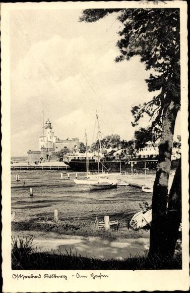 Ak Kołobrzeg Kolberg Pommern, Am Hafen, Dampfer F. R. E. M., Lotsenstation