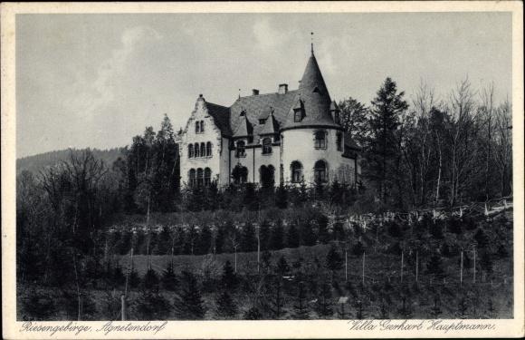 Ak Jagniątków Agnetendorf Hirschberg Riesengebirge Schlesien, Villa Gerhart Hauptmann