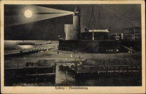 Ak Kołobrzeg Kolberg Pommern, Abendstimmung, Leuchtturm